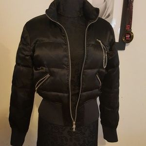 Black Puff Express Jacket with Zippers